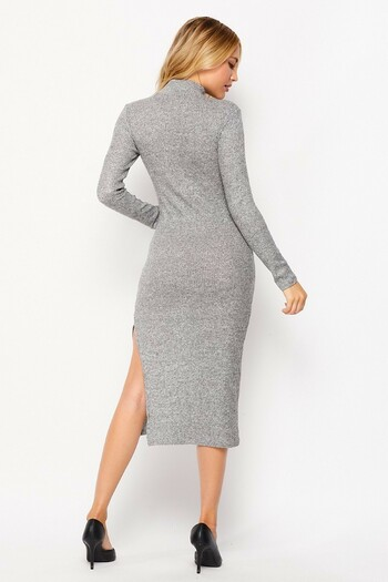 Back side image of Heather Gray Wholesale Solid Fitted Rayon Mock Neck Long Sleeve Side Slit Midi Dress