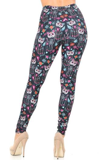Wholesale Creamy Soft Sugar Skull Kitty Cats Leggings - USA Fashion™
