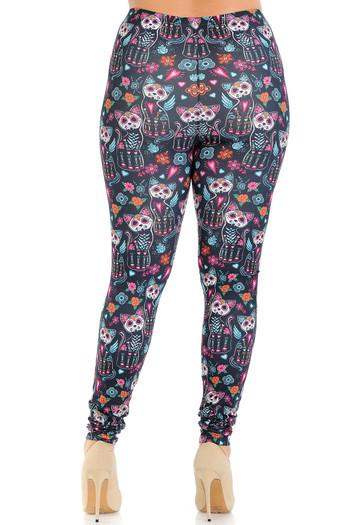 Wholesale Creamy Soft Sugar Skull Kitty Cats Plus Size Leggings - USA Fashion™
