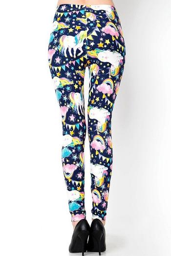 Wholesale Buttery Soft Rainbow Unicorn Celebration Extra Plus Size Leggings - 3X - 5X