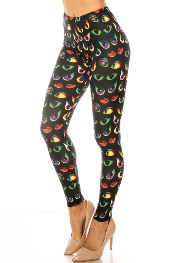 Wholesale Creamy Soft Evil Cartoon Eyes Plus Size Leggings - USA Fashion™