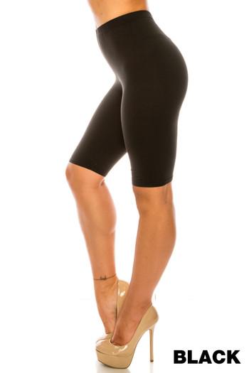 Wholesale Buttery Soft Basic Solid Plus Size Biker Shorts - USA Fashion
