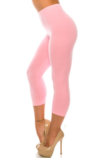Wholesale Buttery Soft Basic Solid Extra Plus Size Capris - 3X-5X - USA Fashion