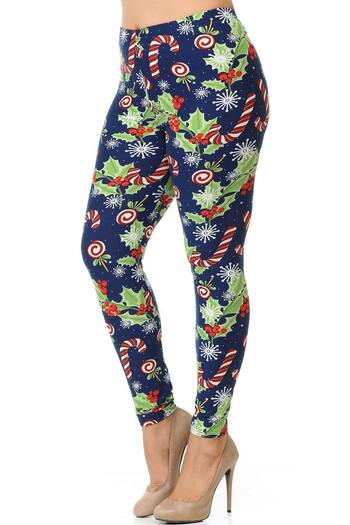 Wholesale Buttery Soft Candy Cane Noel Holiday Extra Plus Size Leggings - 3X-5X
