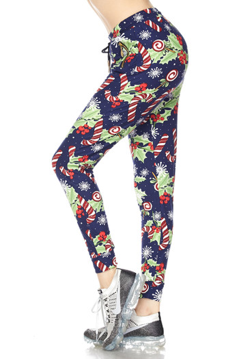 Wholesale Buttery Soft Candy Cane Noel Holiday Joggers