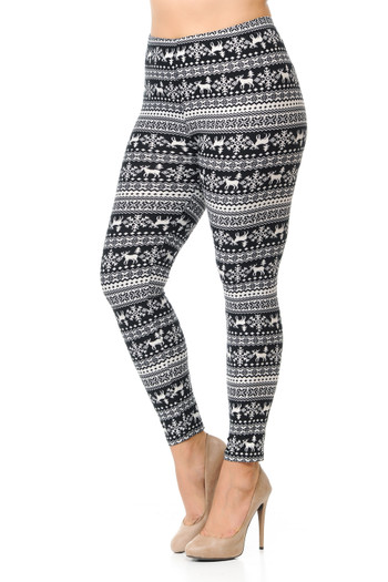 Wholesale Buttery Soft  Reindeer and Snowflakes Christmas Extra Plus Size Leggings - 3X-5X
