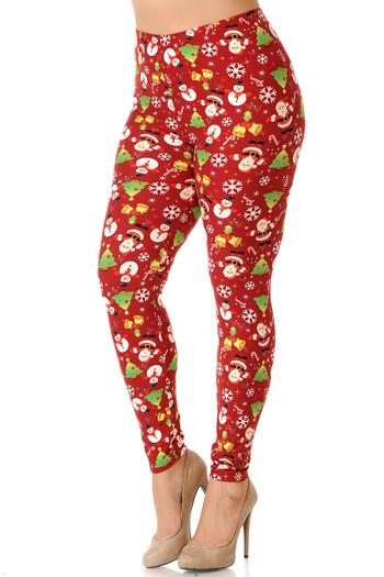 Wholesale Buttery Soft Festive Christmas Delight Plus Size Leggings