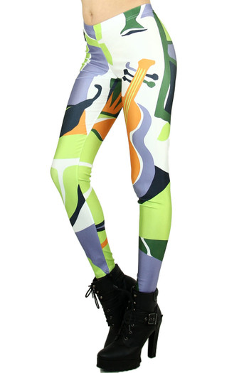 Left side leg image of Wholesale Graphic Print Musical Abstract Leggings