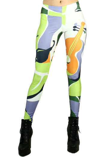 Front side image of Wholesale Graphic Print Musical Abstract Leggings