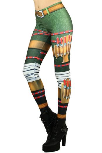 Left side leg image of Wholesale Graphic Print Combat Vixen Leggings