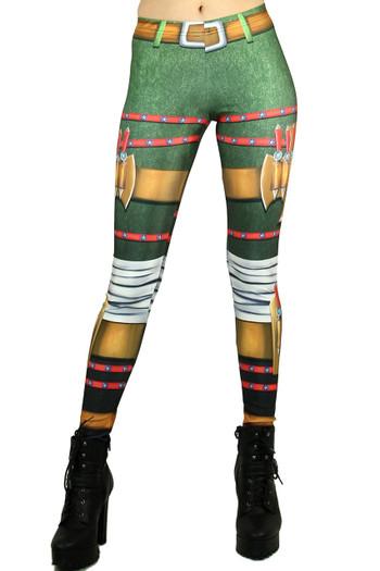 Front side image of Wholesale Graphic Print Combat Vixen Leggings