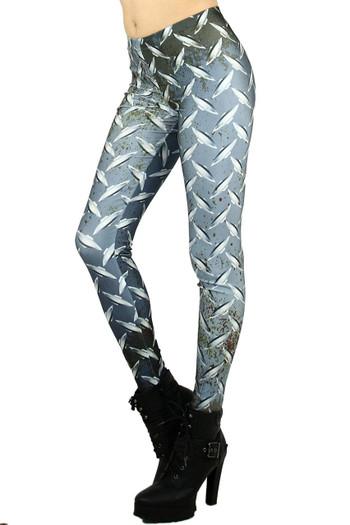 Left side leg image of Wholesale Graphic Printed Metal Plated Leggings
