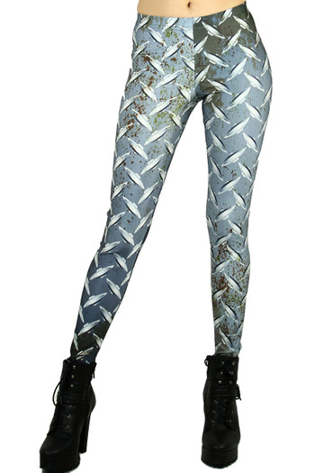 Front side image of Wholesale Graphic Printed Metal Plated Leggings