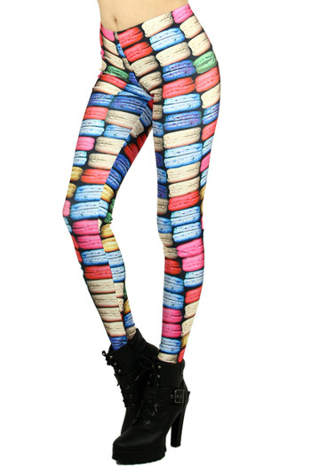 Left side leg image of Wholesale Graphic Printed Macaroon Rainbow Leggings