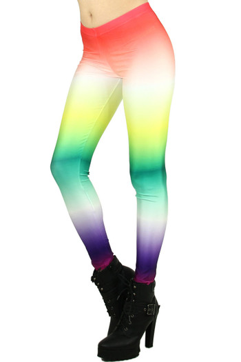 Left side leg image of Wholesale Graphic Printed Ombre Rainbow Leggings