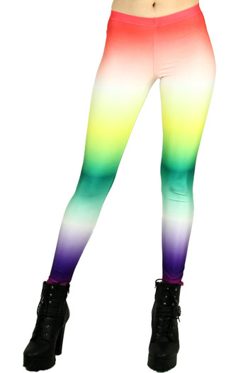 Front side image of Wholesale Graphic Printed Ombre Rainbow Leggings