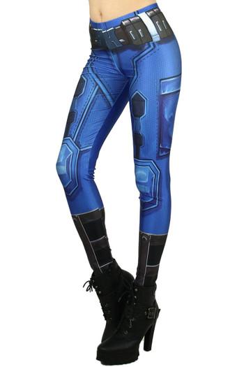 Left side image of Wholesale Premium Graphic Blue Sexy Armor Leggings