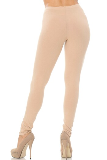 Rear Beige Wholesale USA Full Length Cotton Leggings