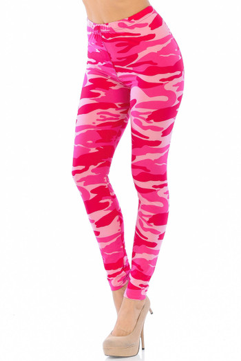 Wholesale Buttery Soft Pink Camouflage Leggings