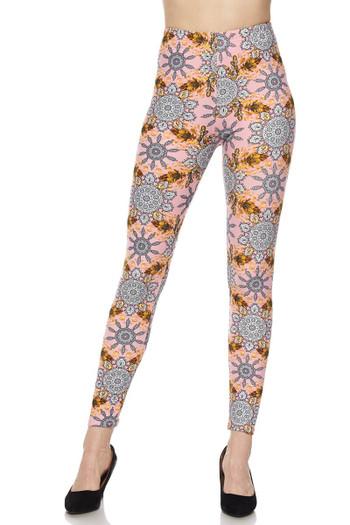 Wholesale Buttery Soft Plus Size Gorgeous Pink Motif Leggings