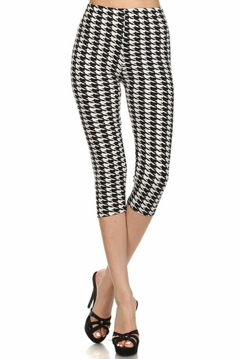 Wholesale Buttery Soft Houndstooth Plus Size Capris
