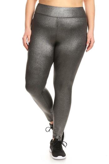 Wholesale High Waisted Metallic Silver Plus Size Sport Leggings