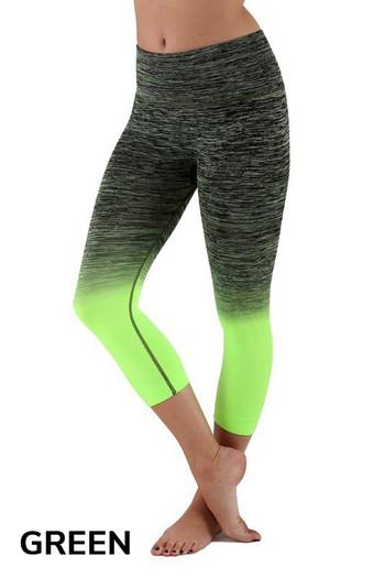 Green Wholesale Ombre Fusion Workout Capris