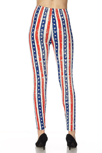 Wholesale Buttery Soft Vertical Stars and Stripes Leggings