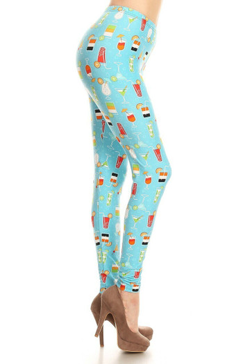 Wholesale Buttery Soft Cocktails and Martinis Plus Size Leggings - Limited Edition