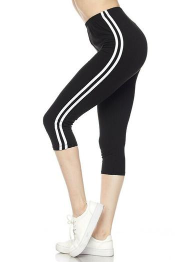 Wholesale Buttery Soft Sport Stripe Basic Plus Size Capris