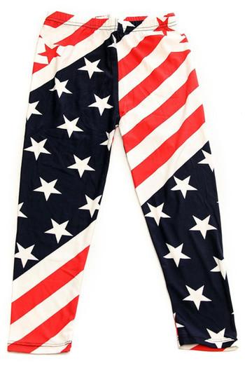 Wholesale Buttery Soft Star Swirl USA Flag Kid's Leggings