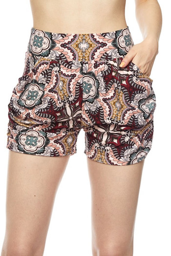 Wholesale Buttery Soft Pink Motif Harem Shorts