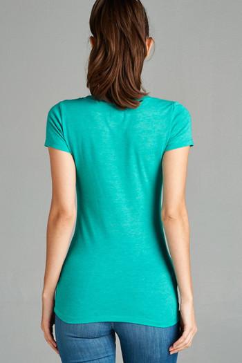 Wholesale Open Scoop Neck Short Sleeve Basic T-Shirt