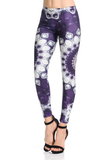 Wholesale Premium Graphic Jumbo Purple Mandala Leggings