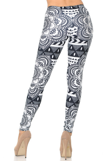 Wholesale Premium Graphic Monochrome Tribal Mandala Leggings