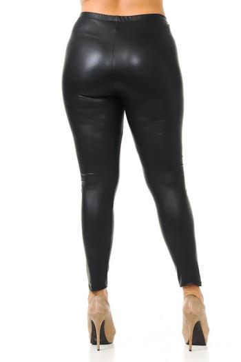 Wholesale Matte Faux Leather Plus Size Leggings