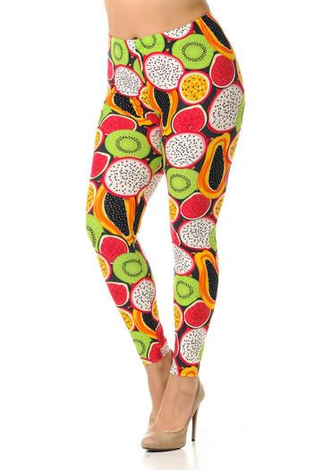 Wholesale Buttery Soft Colorful Tropical Fruit Plus Size Leggings - 3X-5X