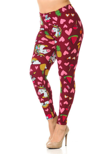 Wholesale Buttery Soft Hearts and Unicorns Plus Size Leggings