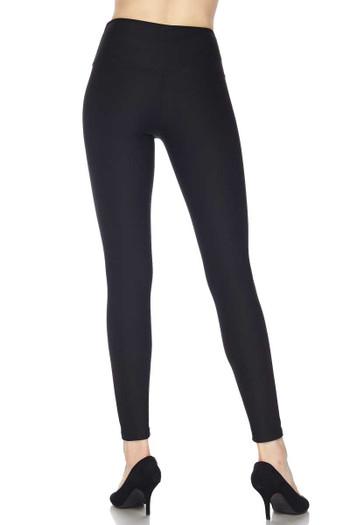 Wholesale Silky Smooth Black Scuba High Waisted Leggings - 5 Inch