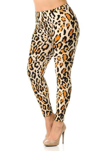 Wholesale Buttery Soft Brazilian Leopard Plus Size Leggings - 3X-5X