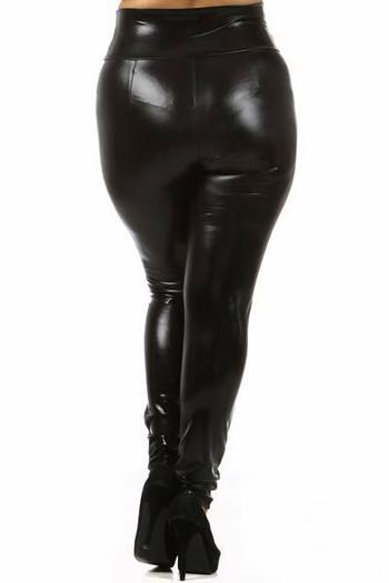 Wholesale Shiny Black High Waisted Plus Size Faux Leather Leggings