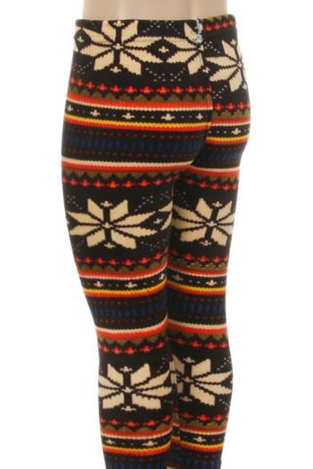 Wholesale Velour Autumn Snowflake Kids Leggings