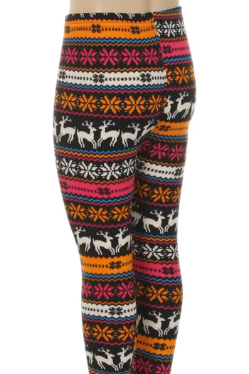 Wholesale Velour Jolly Colorful Reindeer Kids Leggings