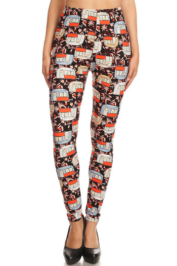 Wholesale Buttery Soft Summer Campers Plus Size Leggings - 3X-5X