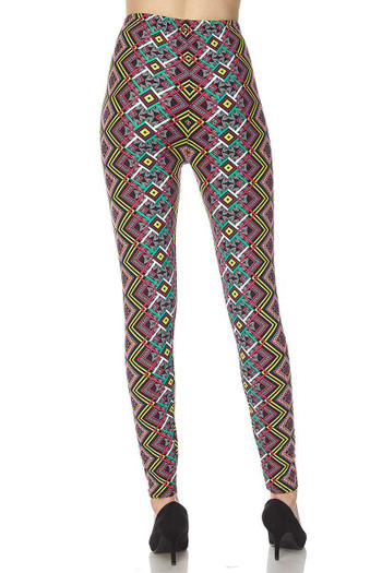Wholesale Buttery Soft Angled Colorful Symmetry Plus Size Leggings