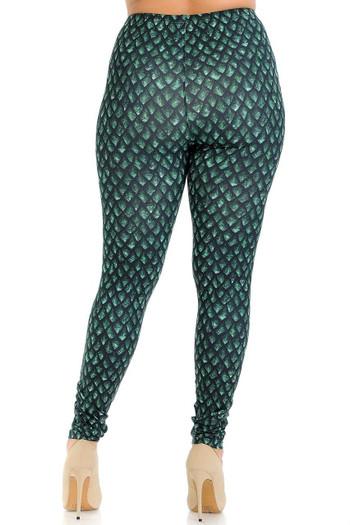 Wholesale Creamy Soft Green Dragon Scale Plus Size Leggings - Signature Collection
