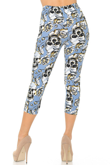 Wholesale Buttery Soft Charcoal Rose Sugar Skull Capris