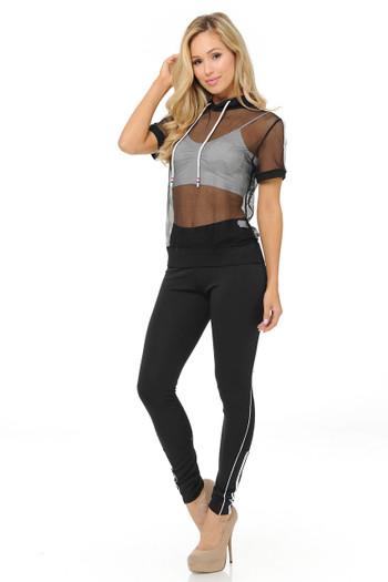 Wholesale Premium Select Full Mesh Jacket with Slenderize Workout Leggings Set - Black