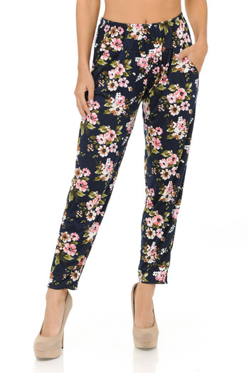 Wholesale Buttery Soft Pretty Pink Floral Harem Pant