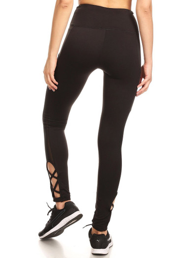 Wholesale Caged Ankle Side Mesh Women's Workout Leggings